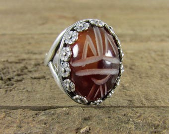 Carnelian Egyptian Scarab Ring, Scarab Cabochon Ring, Bold Ring, Gemstone Rings