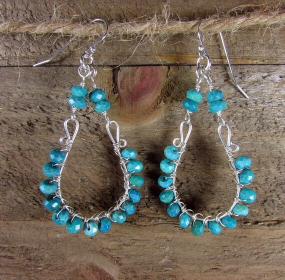 Turquoise Chandelier Earrings, Sterling Silver & Green Turquoise, Statement Earrings, Wire Wrapped Turquoise Earrings, Natural Turquoise