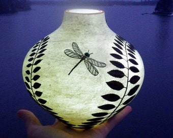Shapely Vase with Large Teal Eyed Dragonflies Sculpted with Polymer Clay onto a Recycled Cream Glass Vase