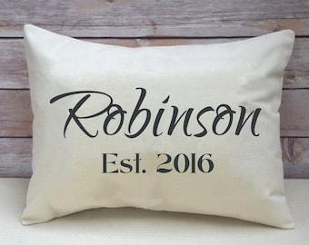 Cotton anniversary, Housewarming gift, Personalized pillow, Cotton anniversary gift, wedding, name pillow, newlywed pillow, 2nd Anniversary
