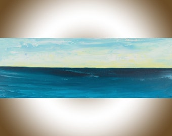 Blue abstract painting original seascape art deep blue yellow white palette knife painting wall art wall Decor wall hanging by qiqigallery