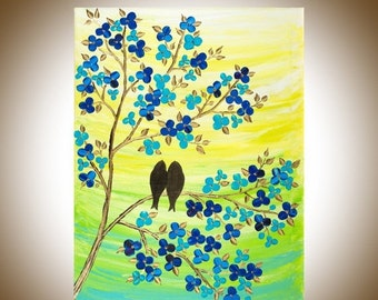 "Blue yellow green birds painting wall art wall decor painting on canvas gift for her gift for couple ""Fulfilment"" by qiqigallery"