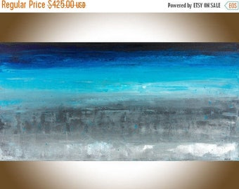Extra Large wall art Abstract original artwork canvas art wall art wall Decor wall hanging blue grey black by qiqigallery