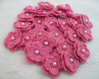 Crochet Flowers set of 25 double layered in a Tropical Pink