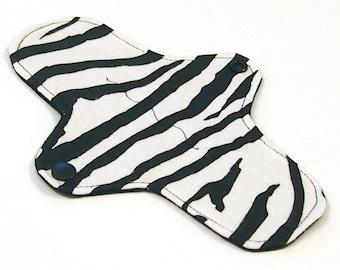 "8"" Reusable Cloth winged ULTRATHIN Pantyliner - ""Zebra"" - Cotton Flannel top"