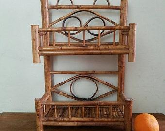 70s Bamboo/Bent Wood 2-Shelf Hanging Rack, Bohemian
