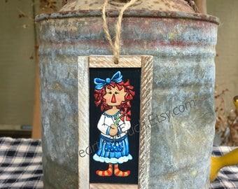 2 x 4 Mini Rustic Farmhouse Painting - Annie Doll