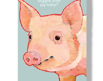 Pig metal sign 8x12 wall decor indoor outdoor garden pig art pig farm sign