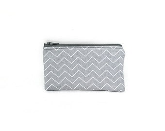 Pocket Zipper Case, Change Purse, Card Case, Coin Purse, Gray and White Chevron 8752 8753
