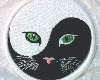 Yin and Yang of Meow - Cats & Kitties #2 Embroidered Iron on Applique - Patch - FREE U.S. Shipping