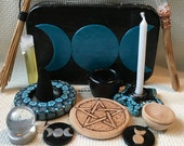 Ready to Ship Pocket Travel Altar in Shades of Teal