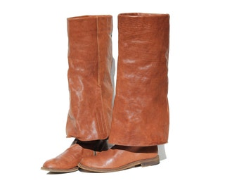 Italian Baked Clay Brown Leather Tall Boots / size 6