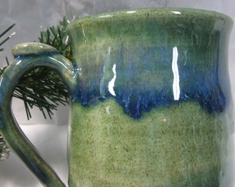 GLOSSY Blue And Green Mug with Thumb Rest Wheel Thrown Stoneware Pottery