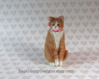 Needle-Felted Wool Cat Animal Soft Sculpture with pink ribbon  - READY TO SHIP (10316)