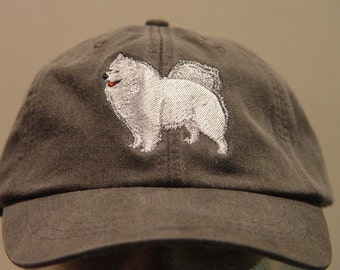 SAMOYED  DOG HAT - One Embroidered Men Women Cap - Price Embroidery Apparel - 24 Color Caps Available