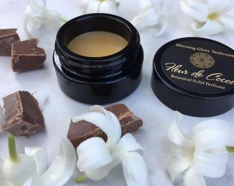 FLEUR DE COCOA Botanical Solid Perfume ~ hypnotic Jasmine Accord with notes of Ylang Ylang, Vanilla Bourbon, and Dark Chocolate / gourmand