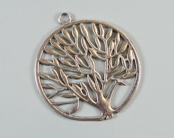 Antique Silver color Tree Of Life Pendant Drop, 2 pcs, 47mm, NF & LF, CN1014