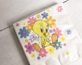 Vintage Tweety Bird and Flowers Paper Napkins-Set of 24 Large- New in Package- 1997, Looney Tunes