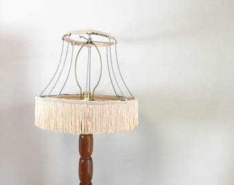 Vintage Large Wire Lamp Shade Frame with Fringe Detail- Bell Shape