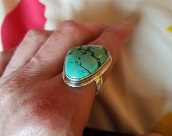 Gorgeous Large Turquoise and Silver Ring