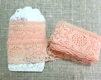 "Vintage Lace Peach Trim Sewing Notions Five 5 Yards plus 15"" Inches 1-1/2"" Wide NOS New Old Stock Unused"