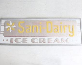 Large Graphic Ice Cream Vintage Sign - 6 Feet Long