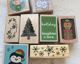 8 Funny Christmas Rubber Stamps