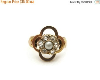 SALE Victorian Pearl Ring - 10k Gold, Quatrefoil Ring, Paste Ring, Antique Statement Ring