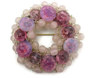 Pink Glass Beaded Brooch - Wreath Circle, Opalescent