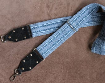 Cross-Body Carrying Strap, Recycled Blue Jeans, Woven by Hand in the USA