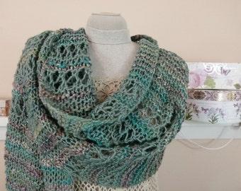 """Handknit Shawl or Oversized Scarf Featuring Hand-spun Yarn """"Harmony Shawl""""- OOAK Shawl - Item 1584"""