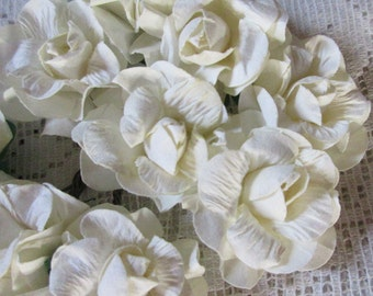 Paper Flowers 18 Curly Paper Millinery Roses Ivory ~ 3 Bundles