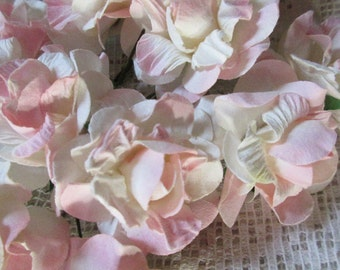 Paper Millinery Flowers 12 Curly Paper Roses Pale Pink & Ivory