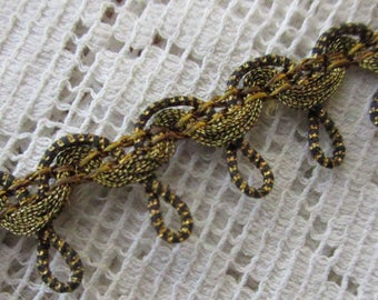 "Italy 1 Yard Vintage Fabric Trim Gold And Black Metallic Trim 1/2"" Wide Ribbon  RV 34"