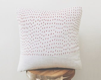 Rain Design / Hand Printed Linen Throw Pillow Cover / Home Decor Pillows / Decorative Pillows