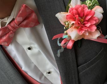 Boutonniere for Wedding or Prom, faux floral men's flower for lapel, Coral and Pink Sparkle Boutonniere