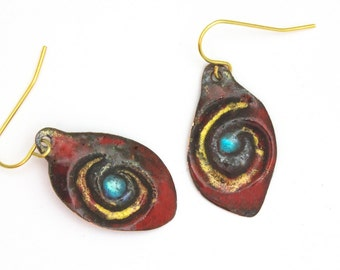 Torch Fired Enamel Evil Eye Amulet Earrings Red