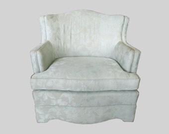HOLLYWOOD REGENCY mint green satin brocade upholstered sofa chair