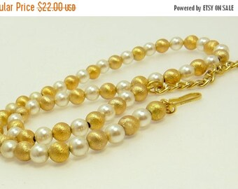 Vintage Napier Gold Bead & Pearl Necklace