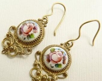 Vintage Russian Finift Enamel Earrings