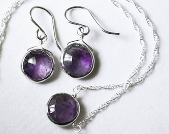 Genuine Amethyst 2-piece SET Real Amethyst Necklace Amethyst Earrings Amethyst Jewelry February Birthstone BZ-SET-105-Am/s