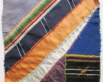 Antique Victorian 1890's Silk Ribbon Fabrics Crazy Quilt Fancy Stitch Embroidered Square, 11 Inch Quilt Square, Antique Silk Ribbon Work