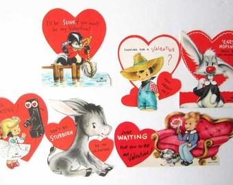 Lot of 6 Vintage 1950-60's Kid's Valentines with Children, Pets,  Activities, Old School Valentines, Vintage Supplies,  Scrapbooks