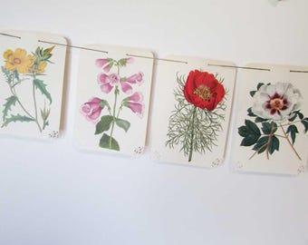 Paper Bunting, Paper Banner, Vintage Botanical, Flowers Wall Banner, Garden Flowers Bunting, Sun Room Decor, Vintage Flower Prints Bunting