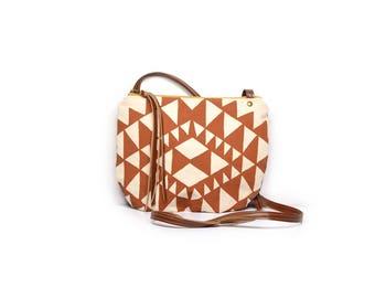 date purse  • crossbody bag - geometric • terra cotta orange triangle print - natural canvas - gifts under 50 - screenprinted