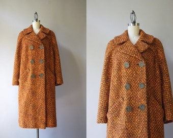 1950s Pumpkin Wool Coat / Vintage 50s 60s Double Breasted Coat / 50s Orange Wool Boucle Coat