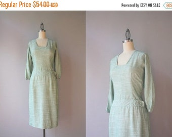 STOREWIDE SALE 1950s Dress / 50s Pale Green Fitted Dress / Vintage Fifties Tailored Dropwaist Dress