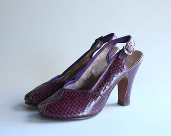 1950s Peep Toe Heels / Vintage 50s Shoes / 1950s Purple Snakeskin Heels