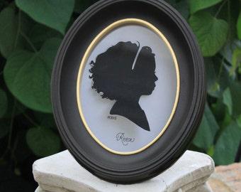 black oval frame