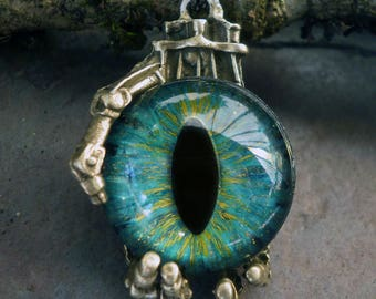 Gothic Steampunk Robot Claw Pendant with Turquoise Blue Eye